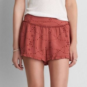 American Eagle High Waisted Eyelet Ruffle Shorts